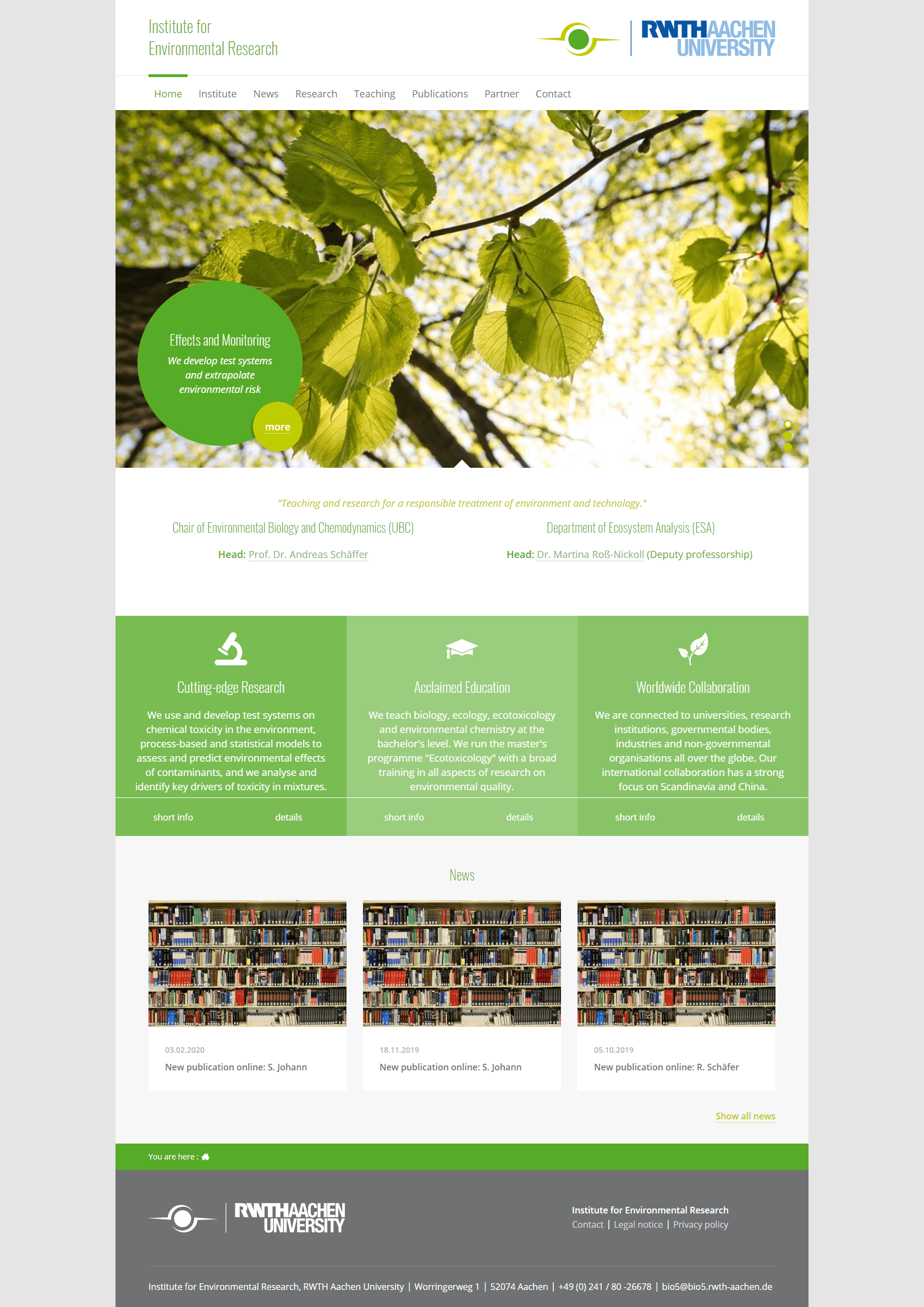 Contao Webdesign Aachen: Institute for Environmental Research (Biology V)