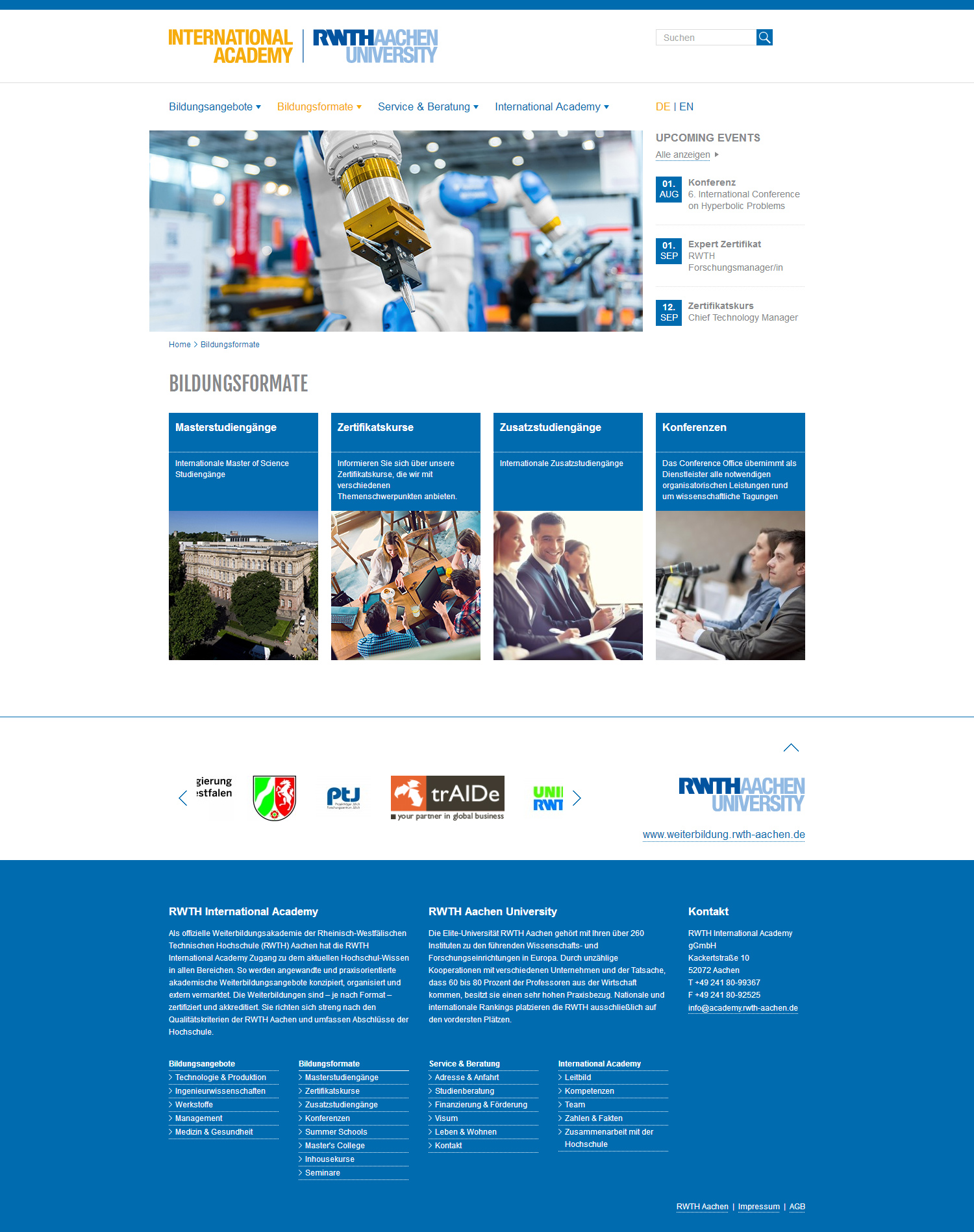 Responsive Webdesign Aachen: RWTH International Academy