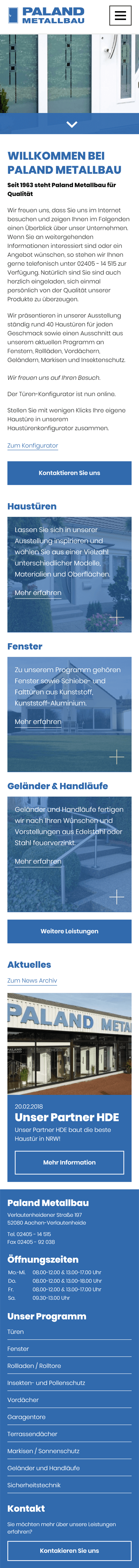Mobile Homepage Aachen: Paland MEtallbau GmbH