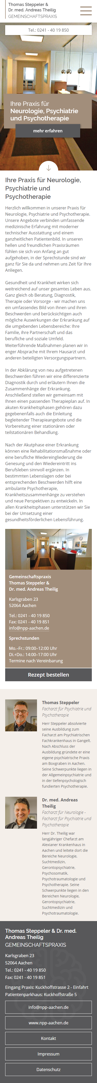 Mobile Homepage Aachen: Gemeinschaftspraxis Thomas Steppeler & Dr. med. Andreas Theilig